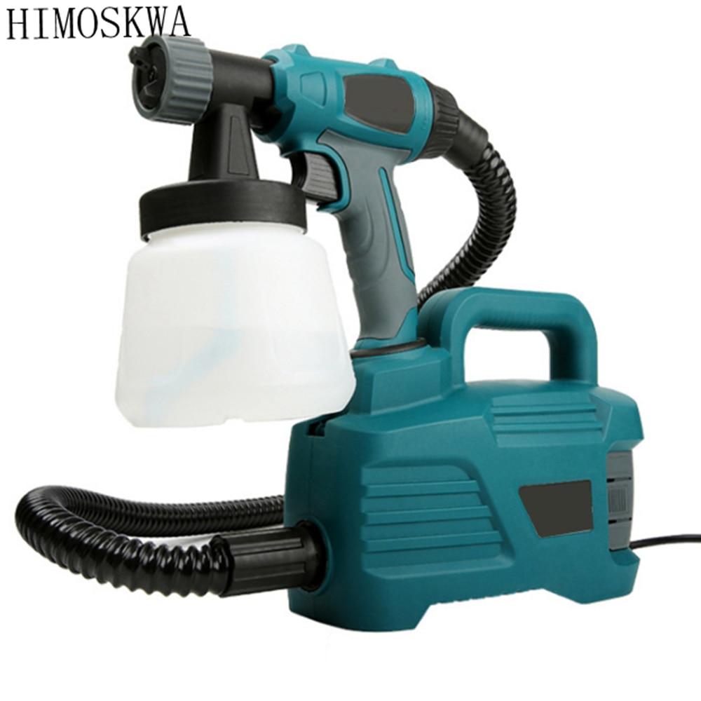 HIMOSKWA 2.5mm 800w Detachable high pressure electric spray gun spray nozzle adjustable type control flow latex paint spray gun сливки spray pan взбитые ультрапастеризованные 27