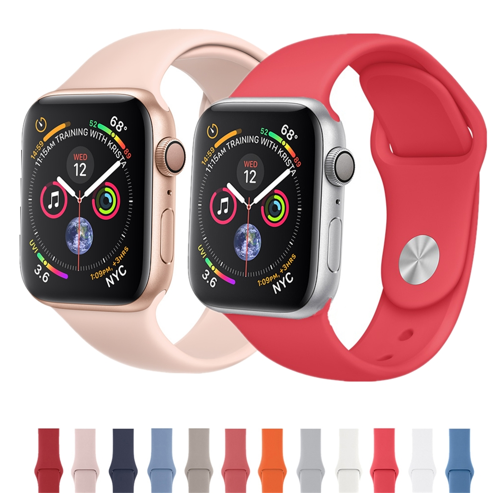 Silicone Sport Band For Apple Watch 4 44mm 40mm correa aple watch 42mm 38mm Wrist Bracelet for iWatch 4 3 2 1 Replacement belt 20 colors sport band for apple watch band 44mm 40mm 38mm 42mm replacement watch strap for iwatch bands series 4 3 2 1