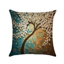 Декоративная подушка, трехмерная картина маслом, деревья, цветы, хлопковая Подушка, наволочка для гостиной, чехол для дивана, автокресла