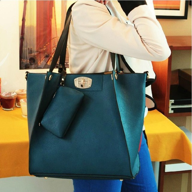 Women's Bag 2013 New Handbag Fashion Shoulder Bag Large Capacity Shopping Bag PU Leather Bag Free Shipping Wholesale/Retail