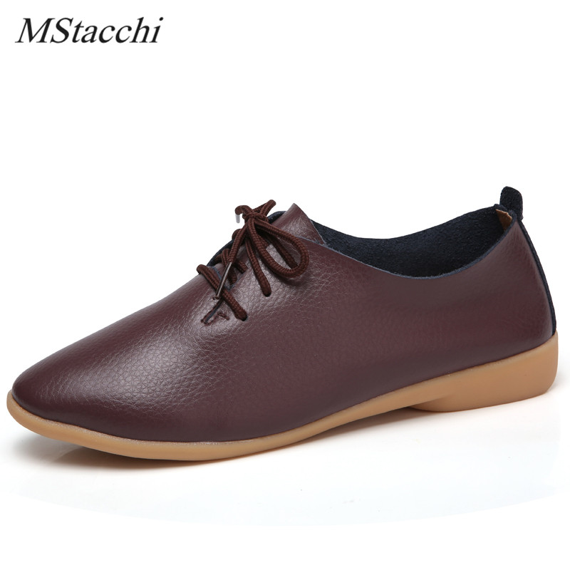 a2ffe7a99b612 Detail Feedback Questions about Mstacchi 2018 Woman Ballet Flats Pointed Toe  Shoes Solid Real Leather Lace Up Shoes Fashion Leisure Flat Women Shoes  White ...