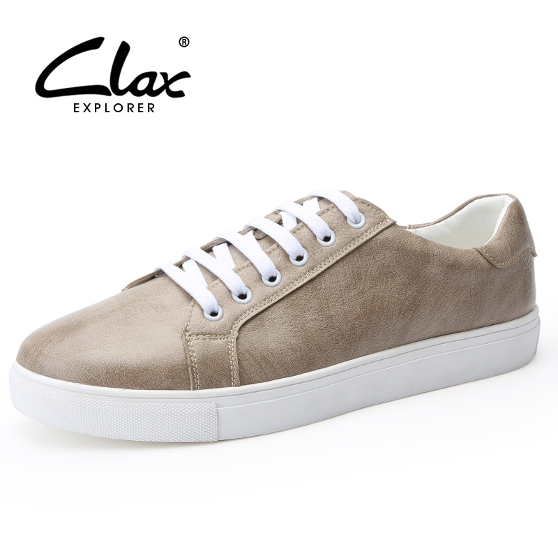 CLAX Men's Leather Flats Shoes 2018 Spring Summer British Style Casual Shoe Young Man Fashion Leisure Footwear Soft Big Size new women flats shoes leather round toe shoe ladies fashion leather girl shoes slip on work footwear spring summer big size