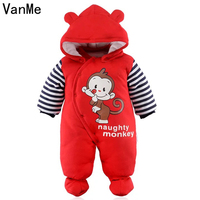 VanMe Baby Costume Spring Hooded Long Sleeve Red Monkey Toddler Romper Newborn Baby Cotton Jumpsuit Clothes