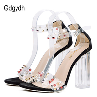 Gdgydh PVC Jelly Sandals Women Crystal Sexy Rivets 2018 New Summer Open Toe High Heels Transparent