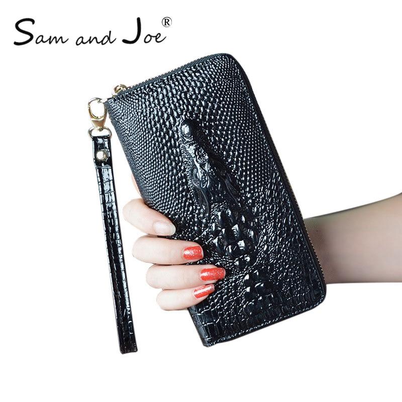 Women Wallet Female 2019 Coin Purses Holders Genuine Leather 3D Embossing Alligator Ladies Crocodile Long Clutch Wallets