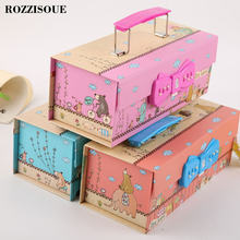 Cute Korea Kawaii Ppencil Cases School Pencil Case for Girls Password Pen Box Pencilcase Stationery Bag School Supplies 3 Floors(China)