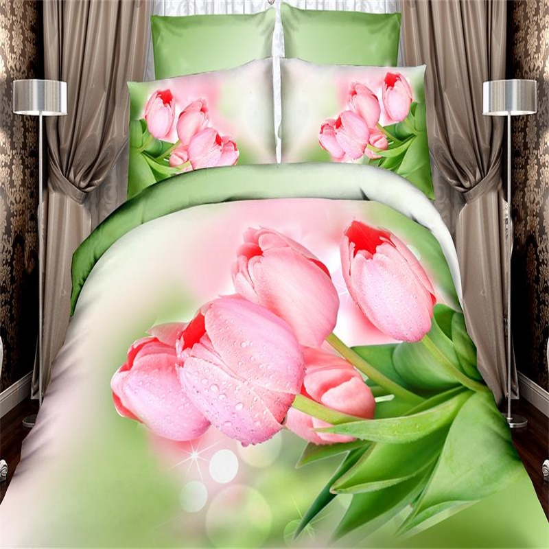 3d pink tulips floral light green bedding set queen size textile sets 100 cotton bed in a bag quilt cover bedlinen pillowcase