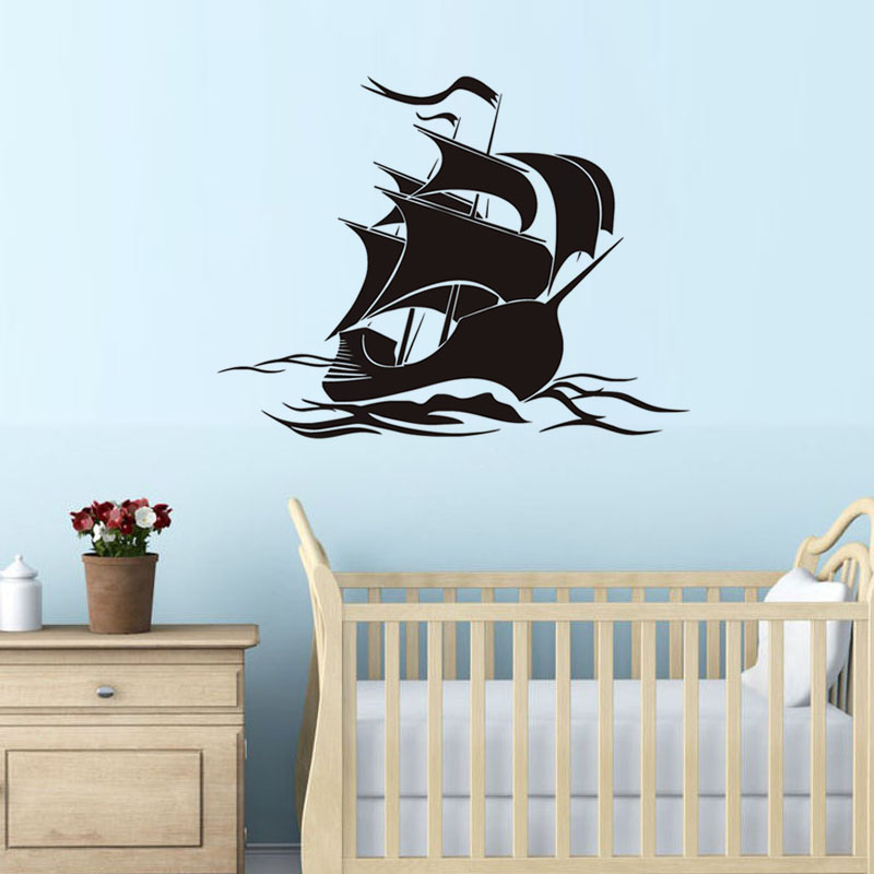 DCTOP Pirate Ship Wall Sticker For Bedroom Removable Vinyl