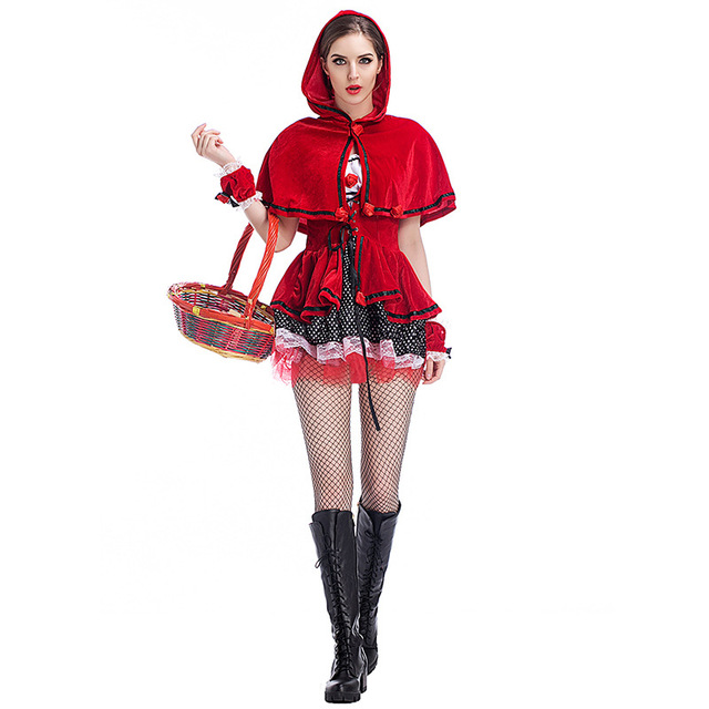 Halloween Carnival Costumes Womens Little Red Riding Hood Costume Suit Castle Queen Fancy Dress Cosplay Clothing for Women