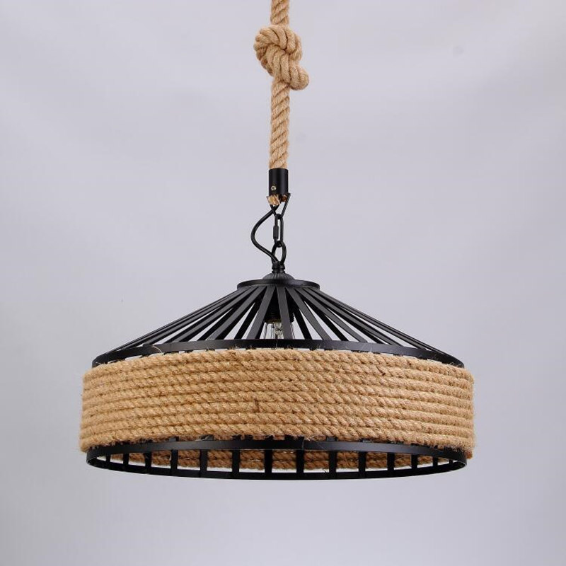 KINLAMS Nordic LOFT American Country Retro Wrought Iron Hemp Rope Pendant Lights For Diningroom Restaurant Cafe Ceiling Lamp american countrial chandeliers cafe pendant lamp round retro restaurant bar metal lamps wrought iron hemp rope pendant lamp