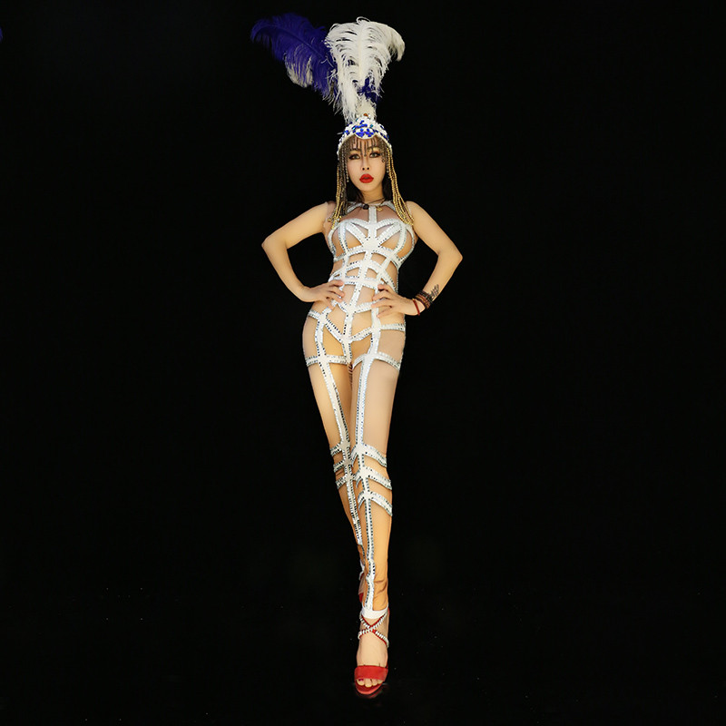 X76 Singer stage wears rhinestone bodysuit white diamonds stripe jumpsuit performance outfits bar party dress clothe women discoX76 Singer stage wears rhinestone bodysuit white diamonds stripe jumpsuit performance outfits bar party dress clothe women disco