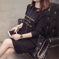 2018 autumn and winter new round neck long paragraph letter sweater sweater pullover