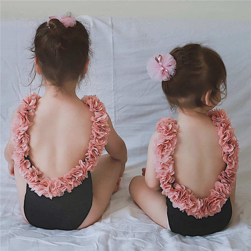 Ins 3D Flower Petal Backless Lady One-piece Swimsuit Mom And Daughter Garments Household Matching Outfits Swimwear Women Romper Matching Household Outfits, Low-cost Matching Household Outfits, Ins 3D Flower Petal...