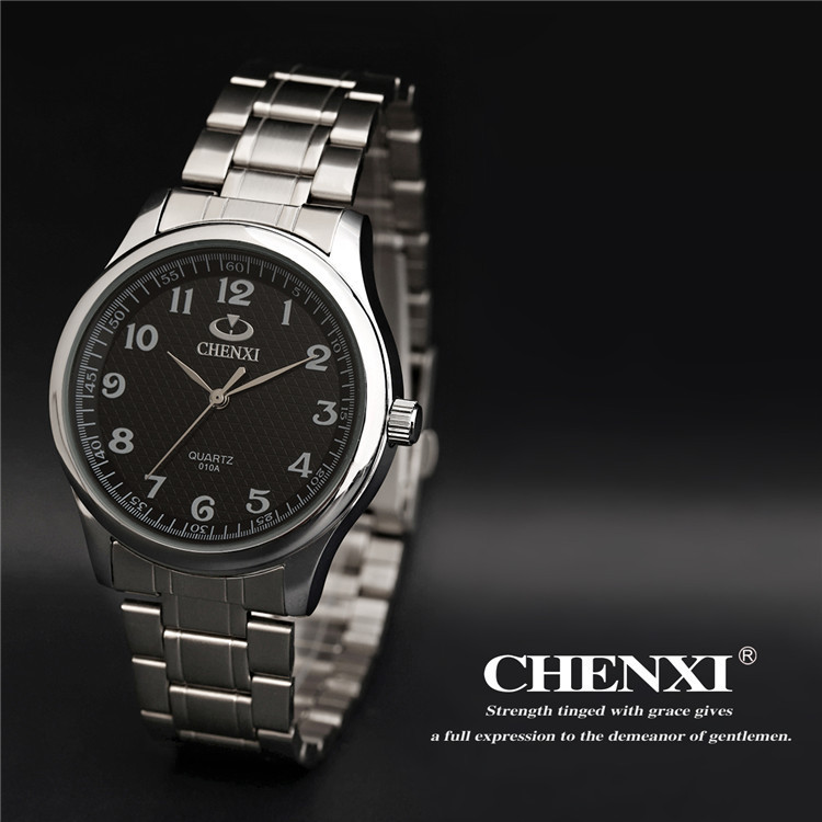 Chenxi Brand Classic Luxury Quartz Ladies Watch Fashion Noble Gift Clock Women Man Wristwatch Full Stainless Steel Silver 010a