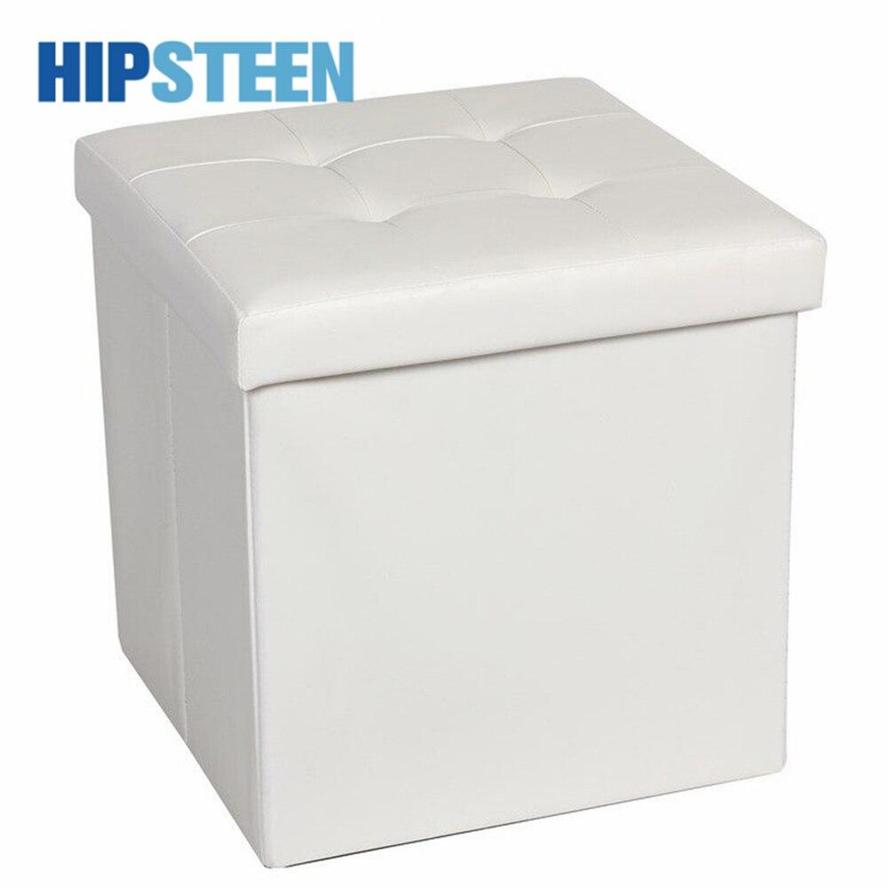 HIPSTEEN 37.5CM nouvelle mode tabouret de rangement pliant ménage décoratif Sunderies PU stockage repose-pieds