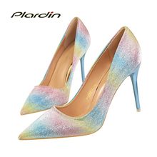 plardin 2017 Shoes Woman Sequins Pointed Toe Sexy Women  Party Wedding Nightclub mixed colors Thin High Heel Pumps women shoes