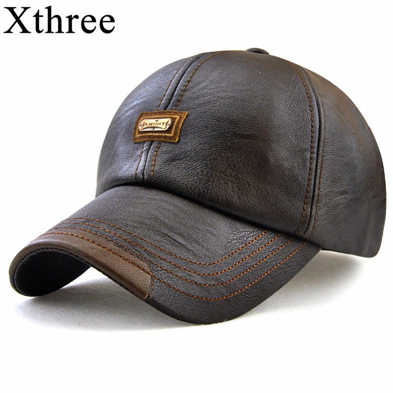 Xthree New fashion high quality faux leather   Cap   fall winter hat casual snapback   baseball     cap   for men women hat wholesale