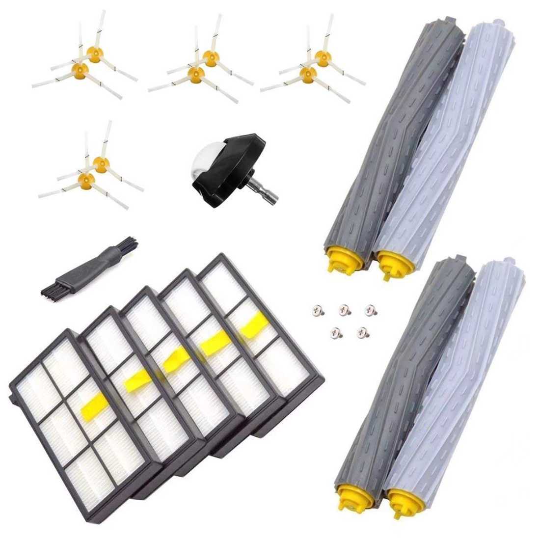 Replenishment Kit for iRobot Roomba 800 & 900 Series 980 960 890 880 870 860 Include Filter Side Brush Debris Extractor arm side brush yellow filter for irobot roomba 500 series replenishment kit for red and green cleaning heads