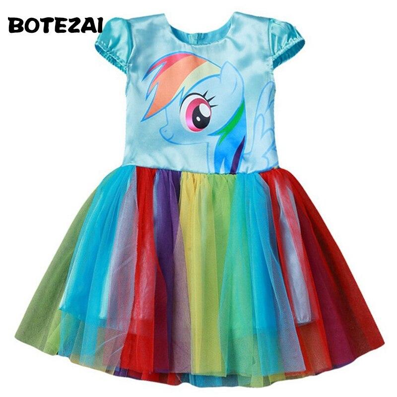 Новинка хит продаж платье для маленьких девочек платье для девочек с маленькими пони праздничный костюм принцессы с рисунками детская одеж... ...