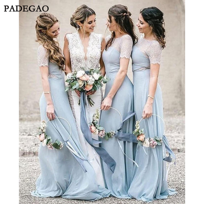 Blue   Bridesmaid     Dresses   With Lace A-Line O-Neck Floor-Length Short Sleeves Chiffon   Bridesmaids     Dresses   Prom Custom Made