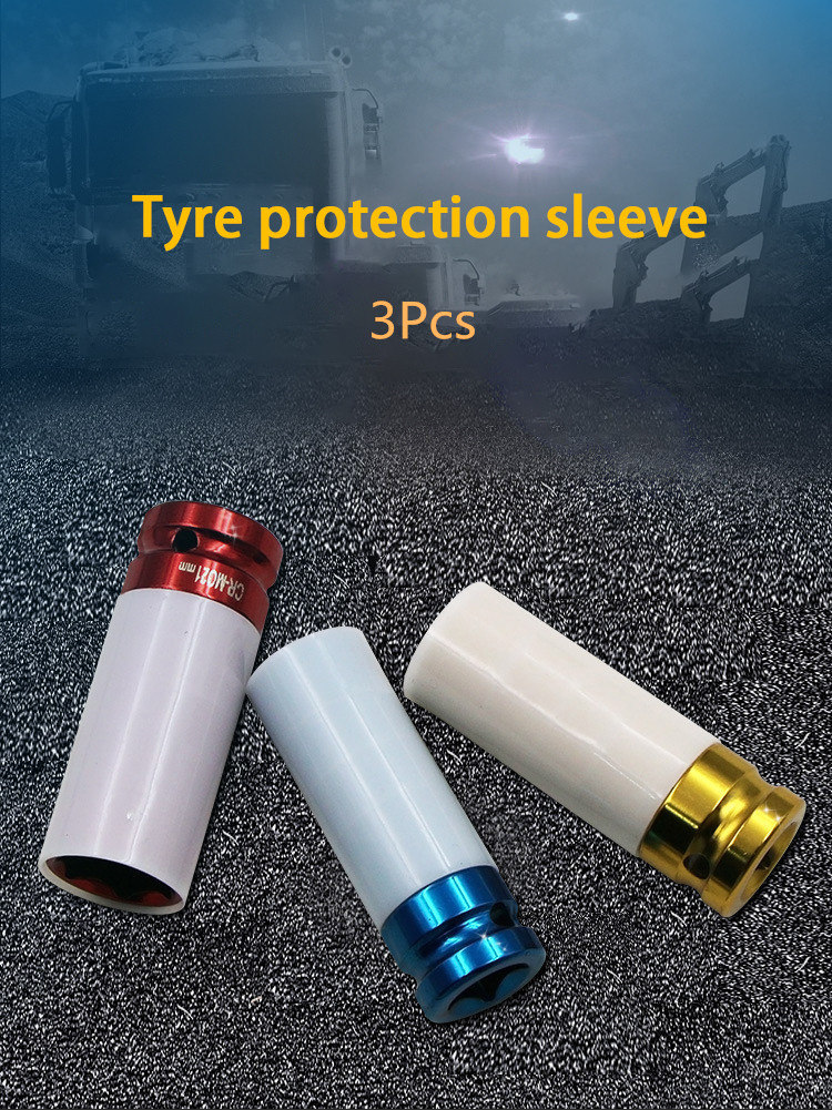 3PCS 17/19/21mm Pneumatic Tyre Protection Sleeve 1/2 Colorful Steam Sleeve Auto Repair Hardware Tool   DT6