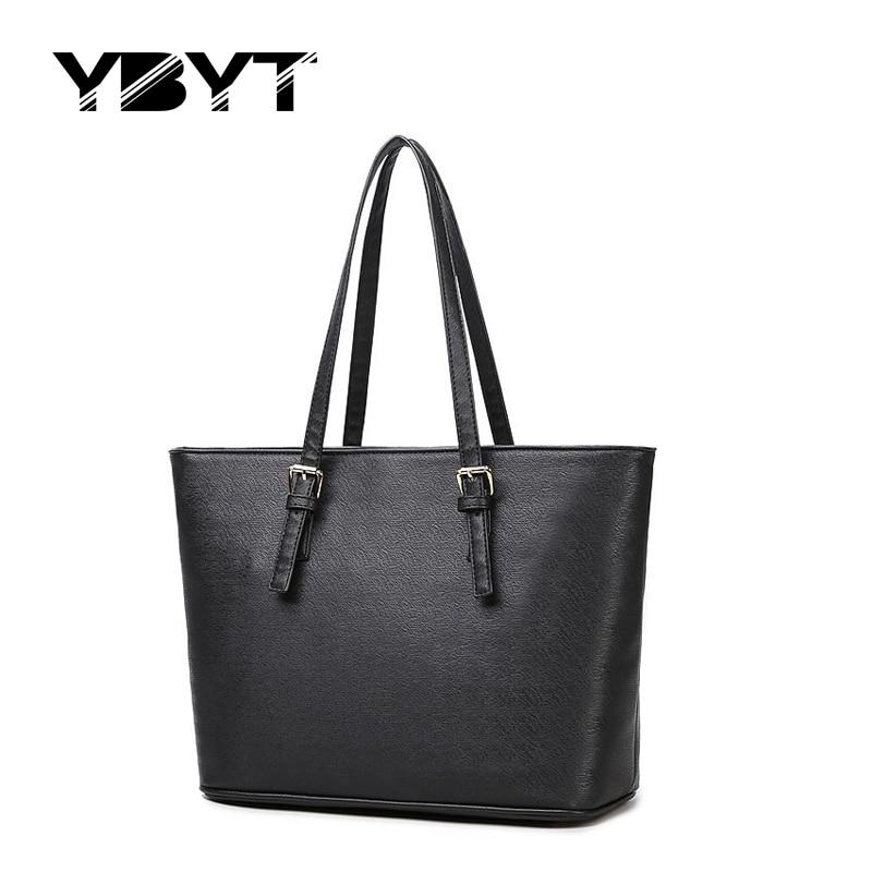 YBYT brand 2017 new joker leisure PU leather tote bags women handbags satchel large capacity ladies