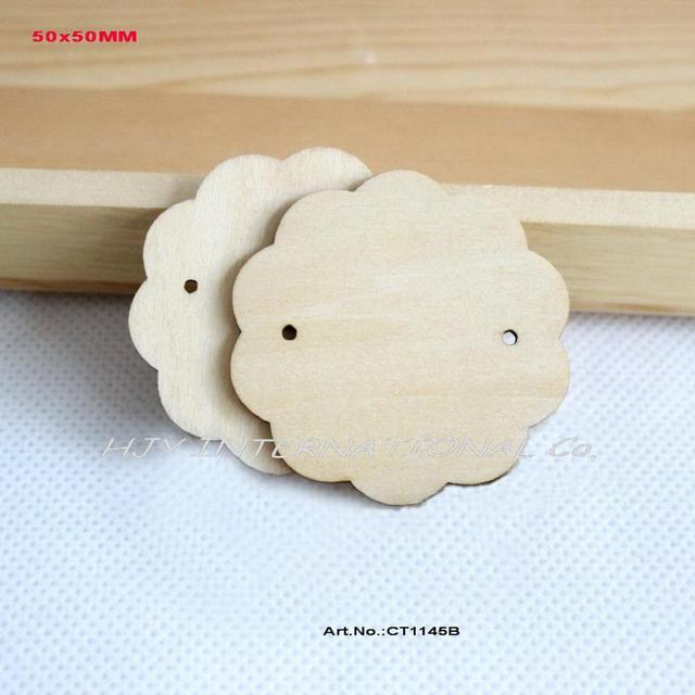 60pcs Lot 50mm Natural Wooden Earring Tags Label Jewelry Cards Custom Display