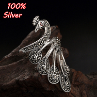 Peacock Ring Anillos Real 925 Silver Boho Jewelry Charm Minimalism Mom Gift Haut Femme Bague Femme Aneis Punk Rings for Women