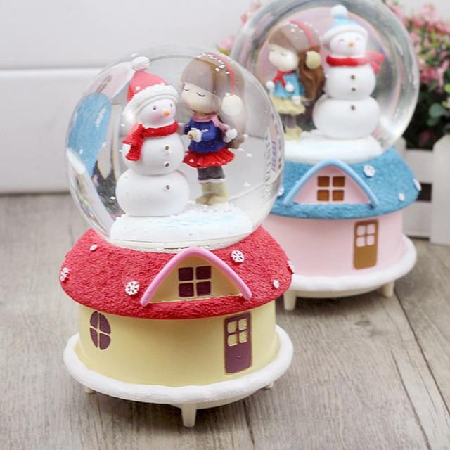 New Rotary Crystal Ball Music Box Take Hat Christmas Snowman Glass Snow Globe Ball New Year'S Gift Christmas Gifts Wedding Decor
