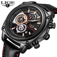 LIGE Men Watches Top Brand Luxury Leather Quartz Watch Men Military Wrist Fashion Sport Waterproof Watch Relogio Masculino