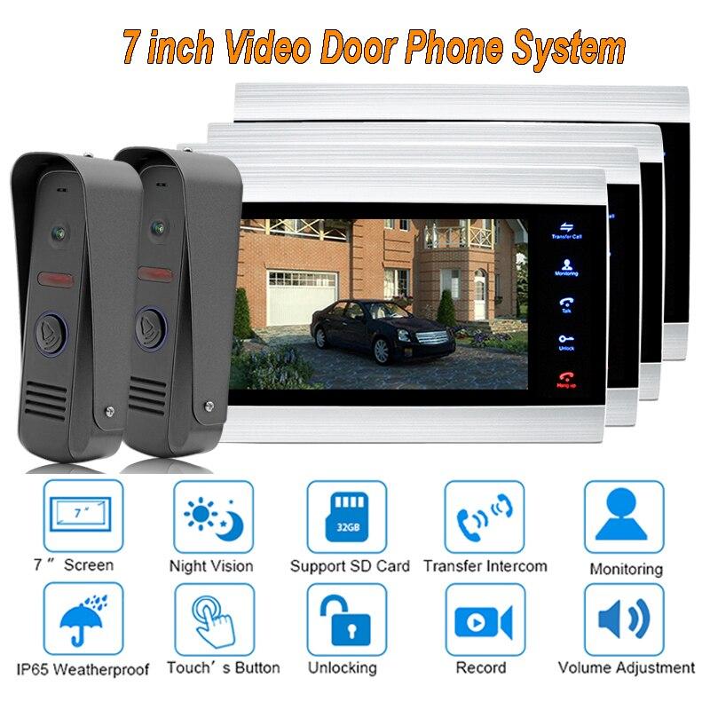 "new Video Door Intercom Doorbell System Home Security Camera Monitor with ip65 Rainproof 7"" TFT display 1200TVL 2 V 4"