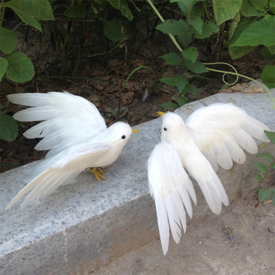 white feathers dove birds one lot/2 pcs about 12x15cm peace bird model handicraft prop,home garden decoration gift p2117