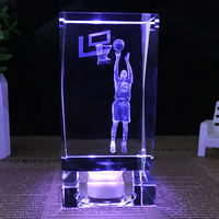 K9 Crystal Cube Figurine NBA basketball star Stephen Curry model crystal ornaments fans gift 3D Laser Engraved Crafts