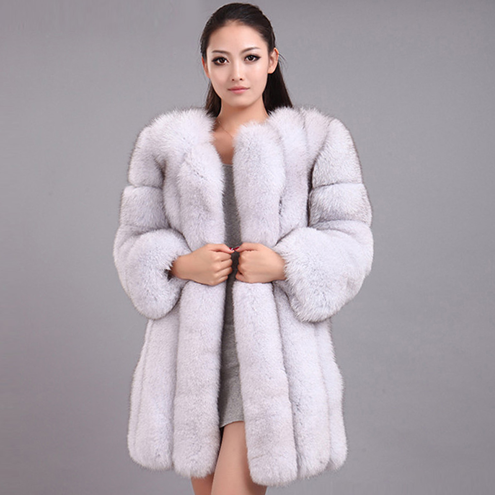 NEW Winter Woman Fluffy Faux Fur Coat Qualified Thick Imitated Fox Fur Overcoat Female Warm Outwear