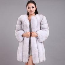 جديد الشتاء امرأة Fluffy فو الفراء معطف المؤهلين سميكة تقليد الثعلب الفراء معطف الإناث الدافئة أبلى