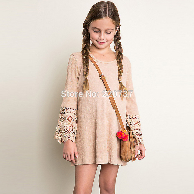 Aliexpress.com : Buy Casual Hollow Long Sleeve Teens Girls Dresses ...