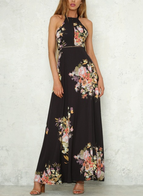 6d050eff805c4 Women's Sexy Halter Split Floral Print Off The Shoulder Backless Beach  Party Maxi Dress CM N209-in Dresses from Women's Clothing & Accessories on  ...