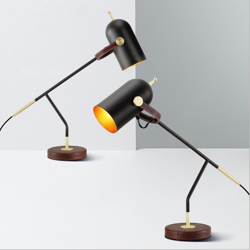 H60cm lampes de Table en fer noir lumière E27 LED lampes de bureau en fer noir chevet salle d'étude chambre bureau noir lampes de bureau