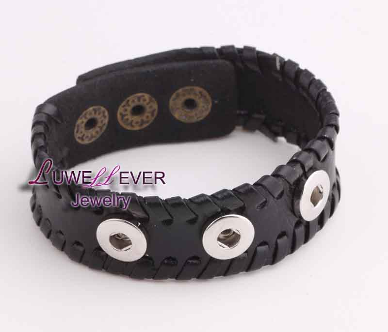 Hot sale 0405 hand woven Genuine Leather Retro fashion Bracelet Snap Button Jewelry Charm Jewelry For