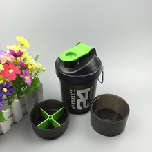3 layers Water Bottle Fashion Portable Space Cup Herbalife Nutrition Custom Protein Powder Shaker Bottle