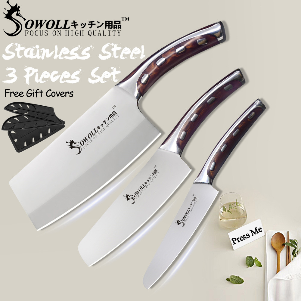 Sowoll Knife Kitchen Cooking-Knives Chef-Chopping High-Carbon-Blade Stainless-Steel Fibre-Handle