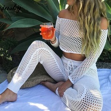 IASKY 2018 New Hollow out swimsuit cover up sexy women off shoulder bikini Bathing Suit Cover ups beach wear 2PCS/SET