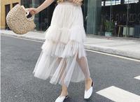 Saia Longa Promotion Natural Special Offer Midi Women's Free Shipping 2019 Sweet Wind Skirt Irregular Elastic Waist Pettiskirt