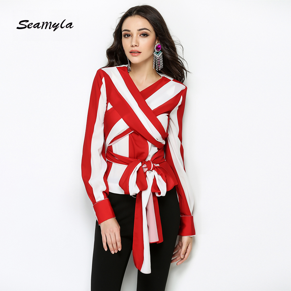 Seamyla Newest 2017 Fashion Runway Designer Blouses Long Sleeve Casual Blouse Women S White Red Striped
