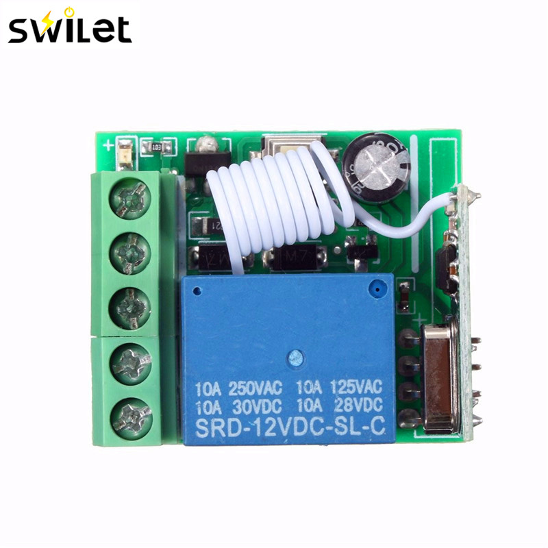 100M DC 12V 10A 1Ch Wireless Relay RF Remote Control Switch Heterodyne Receiver 315MHZ Hot Sale image