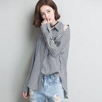 2018 Women Blouses Spring Summer New Wave Korean Loose Large Size Striped Shirt Female Lapel Long