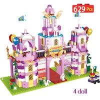 629pcs DIY Model Princess Castle Building Blocks Compatible Legoingly Friends Princess House Villa Bricks Toys for Girls