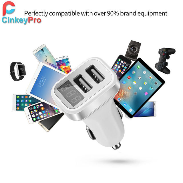 CinkeyPro Car Charger  For iPhone iPad Samsung 2 Port USB LED Screen Smart Auto Car-Charger Adapter 2A Mobile Phone Charging