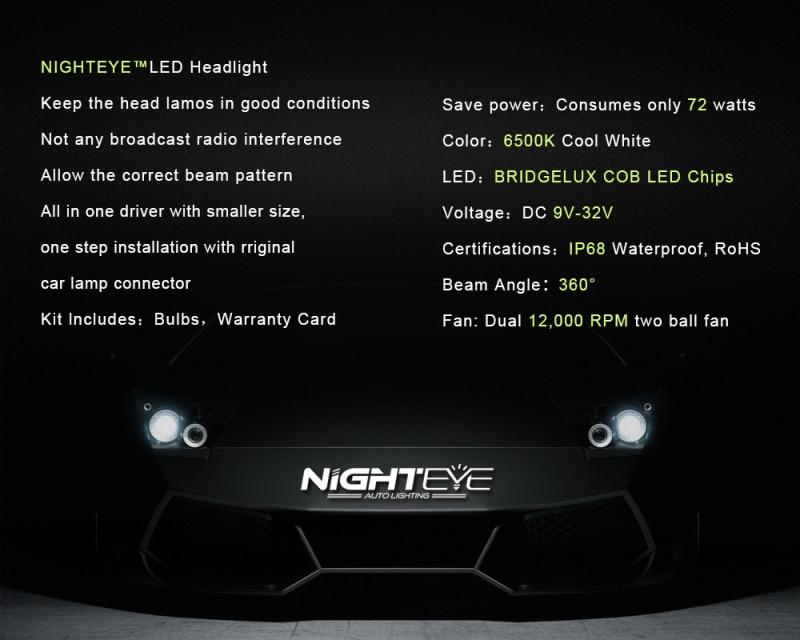 NIGHTEYE Super Bright Car Headlights H7 LED H4 led H1 H8 H11 HB3 9005 HB4 9006 Auto Bulb 72W 9000LM Automobiles Headlamp 6500K