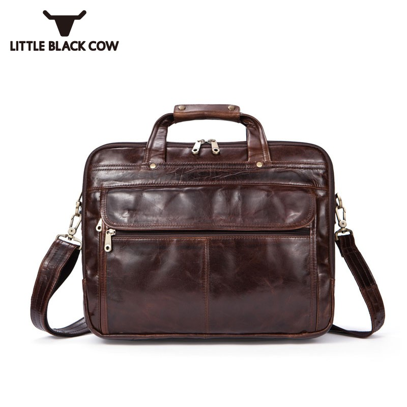 Tote Bags For Men Single OL Genuine Leather Shoulder Bag Man Blue Brown Soft Vintage Luxury Handbags Male Bag Sacoche Homme